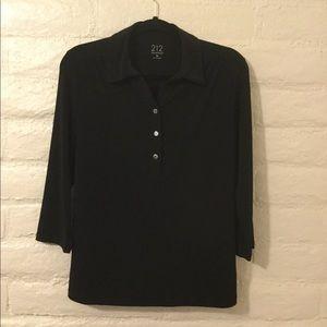 Women's black long-sleeve blouse